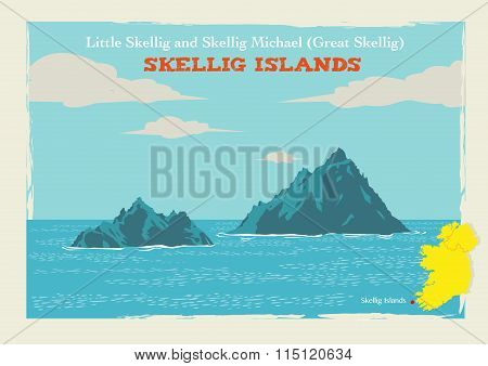 Two Islands Skellig Michael or Great Skellig and Little Skellig in Country Kerry, Ireland. Editable