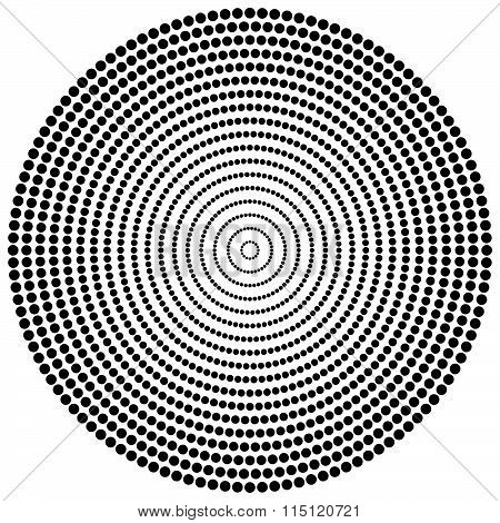 Abstract Dots. Circular, Radiating Dotted Pattern. Concentric Circles Monochrome Vector