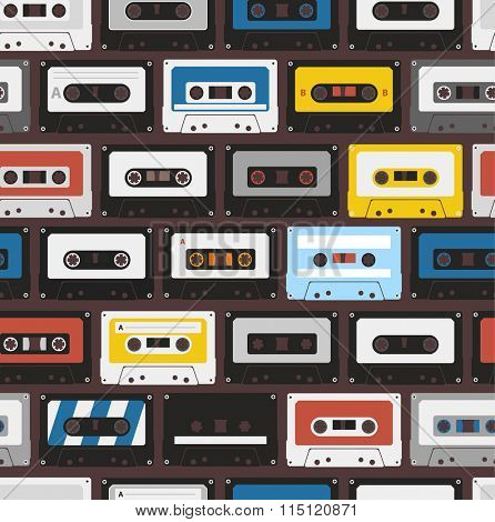 Vintage audio cassettes seamless background