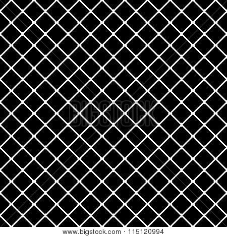Interconnected Squares Seamless Monochrome Pattern. Vector Illustration.