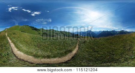 360° spherical panorama: Trail in an alpine meadow