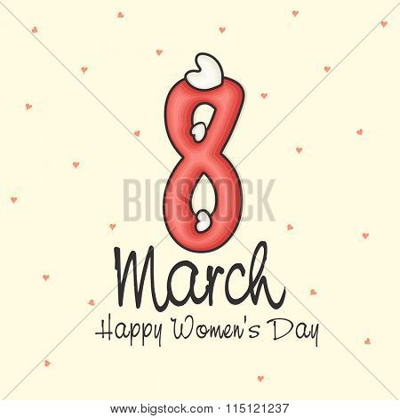 Greeting card design with stylish text 8 March for Happy Women's Day celebration.