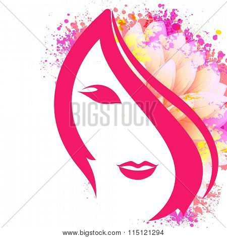 Creative illustration of a young girl face on floral design decorated background for Happy Women's Day celebration.