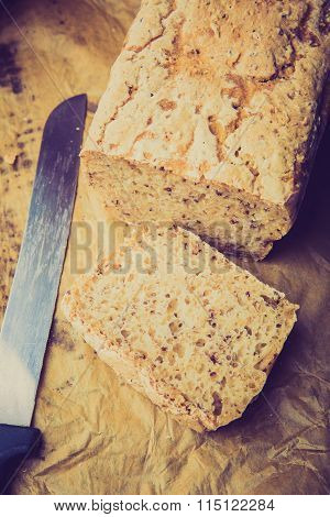Vintage Photo Of Homemade Traditional Polish Wheat Sourdough Bread