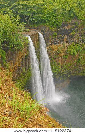 Hidden Falls On A Tropical Island