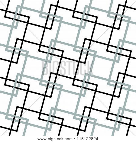 Geometric, Minimalist Pattern With Intersecting Squares. Monochrome, Grayscale Vector Texture.