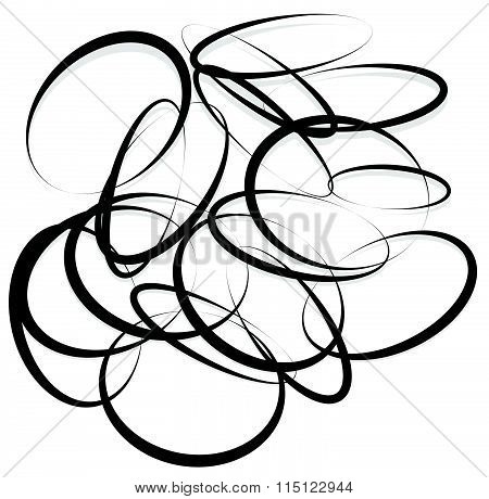 Abstract Element With Contour Lines Of Intersecting Random Circles, Oval Shapes. Monochrome Artistic