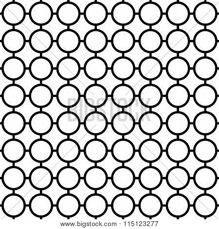 Cellular Seamless Pattern With Connected Circles. Reticulated Grid, Mesh Of Circles, Monochrome Vect