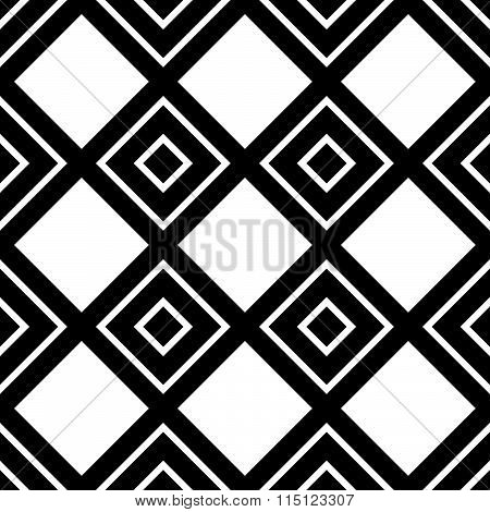 Monochrome Pattern With Square Shapes. Seamlessly Repeatable.