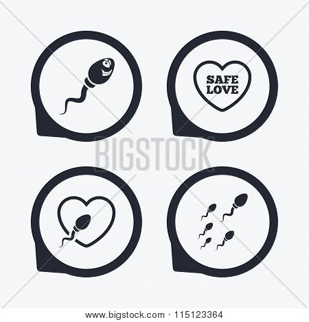 Sperm icons. Fertilization or insemination signs