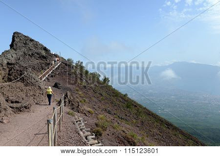 View Of People Hiking The Rim Of Mount Vesuvius Volcano