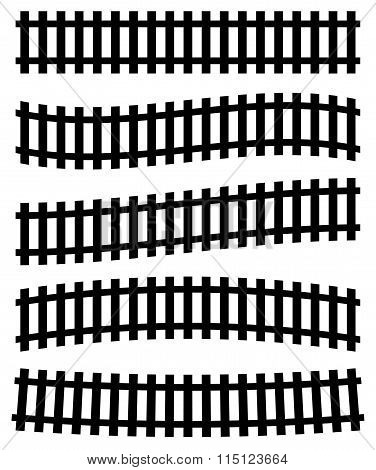 3D Railway, Railroad Track Silhouettes. (straight Version Repeatable.)
