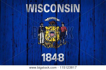 Wisconsin Flag Grunge Wooden Background