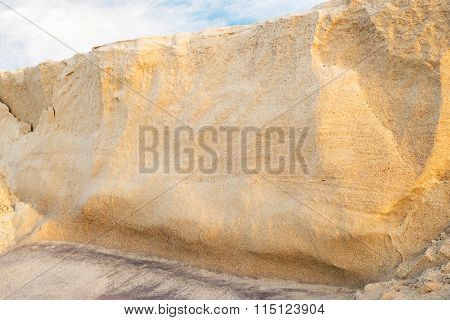 eroded sand bank