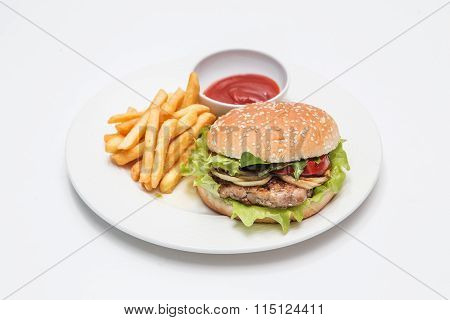 dish with ries and burger