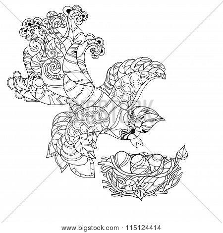 Zentangle sketch bird on nest. Hand Drawn doodle.