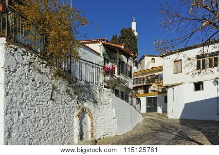 Typical street and mosque in old town of Xanthi, East Macedonia and Thrac