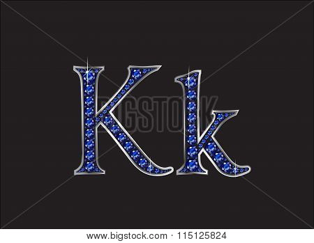 Kk Sapphire Jeweled Font With Silver Channels