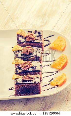 Vintage Photo Of Dark Espresso Cake With Chocolate Glaze