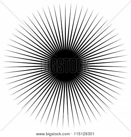 Spiky Shape, Element. Monochrome Abstract Vector Illustration.