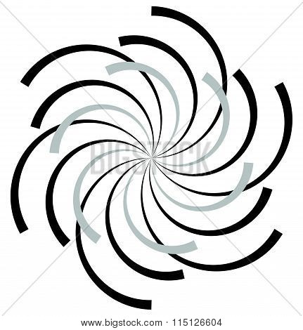 Abstract Radial Spiral, Twirl Or Swirl Element. Rotating Radiating Lines. Abstract Monochrome Vector