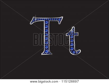 Tt Sapphire Jeweled Font With Silver Channels