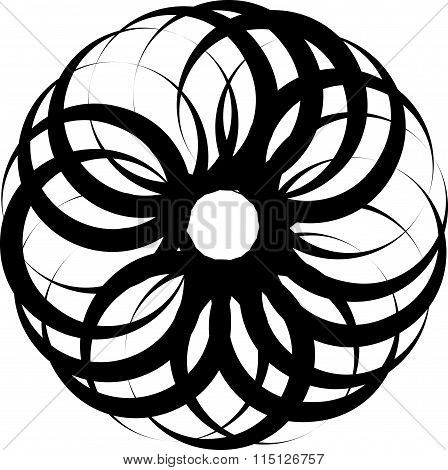 Abstract Circular Spiral, Twirl Element Isolated On White. Editable Vector.
