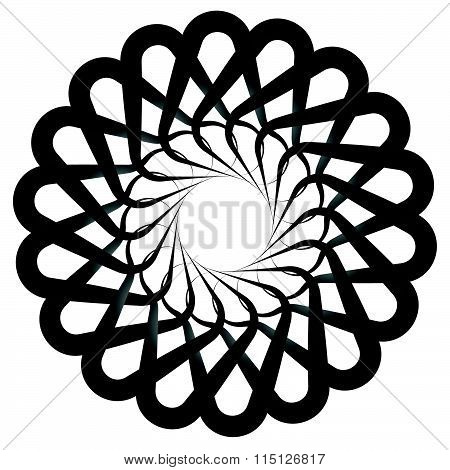 Abstract Spirally, Twirly Shape Isolated On White. Monochrome Vector Element.