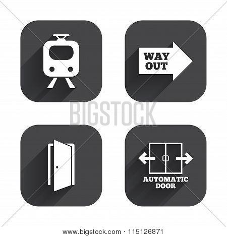 Train railway icon. Automatic door symbol.