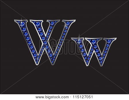 Ww Sapphire Jeweled Font With Silver Channels