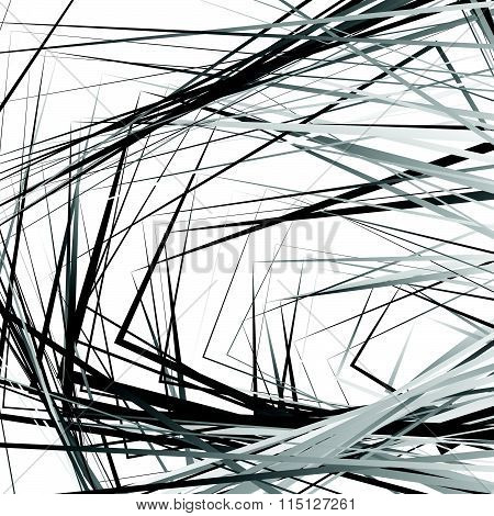 Rough Vector Texture With Edgy Rectangular Shapes. Abstract Grayscale Pattern / Background.