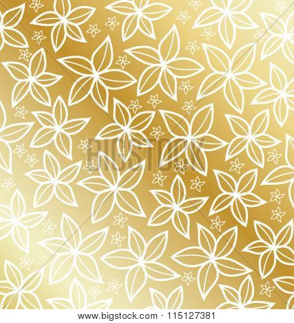 GOLD CLASSIC FLOWERS PATTERN.Can be used for labels, packages, greeting cards, prints, web design, fashion projects, leaflet, cosmetics etc. Vector file.