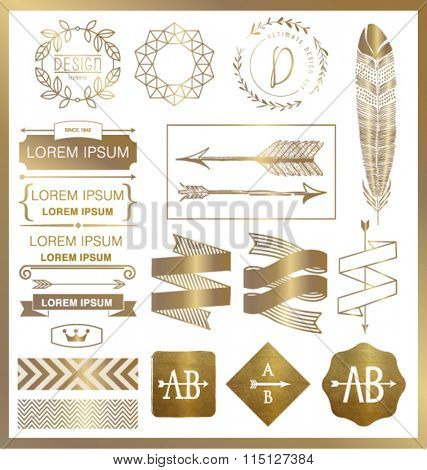 SET OF GOLD GRAPHIC DESIGN ELEMENTS.Can be used for labels, packages, greeting cards, prints, web design, fashion projects, leaflet, cosmetics etc. Vector file.