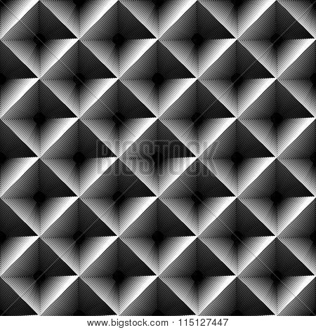 Grayscale Geometric Pattern With Outline Of Squares.