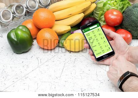 Counting calories in smartphone.