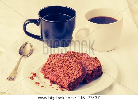 Vintage Photo Of Homemade Gingerbread Cake And Cups Of Coffe