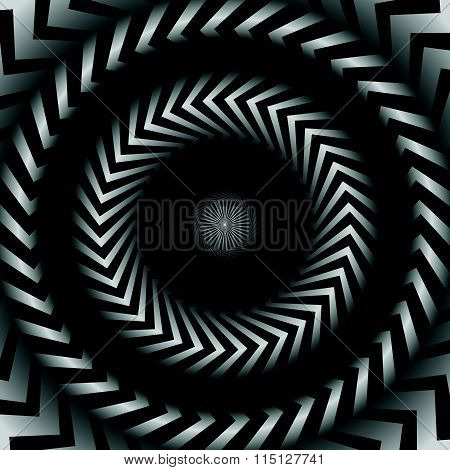Abstract Monochrome Graphics With Radiating, Zigzag Lines.