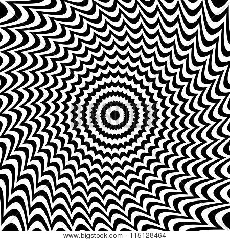 Alternating Black And White Lines With Circular, Spiral Distortion. Abstract Monochrome Background.