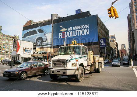 Traffic On The Streets Of Manhattan