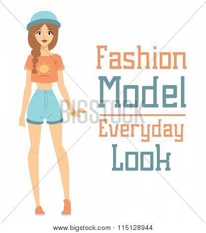Beautiful vector cartoon fashion girl model constructor  look standing over white background. Modern beauty looks. Some modern everyday clothes icons