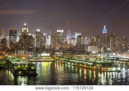 Manhattan Coast At Night