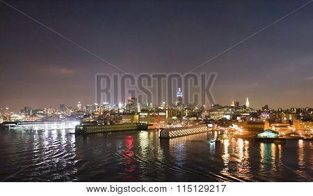 Midtown Manhattan Waterfront Illuminated