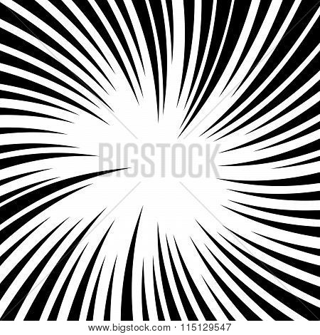 Radiating Lines With Twirl, Rotation Effect. Abstract Vector Background.