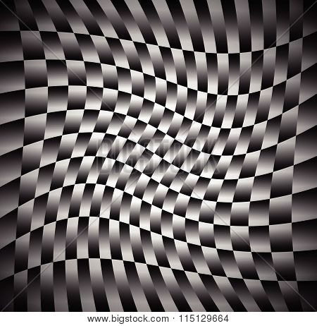 Monochrome Pattern Of Rectangular Shapes With Spirally, Rotating Distortion Effect