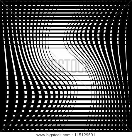 Abstract Monochrome Background With Twisting Intersecting Lines. Vector Art.