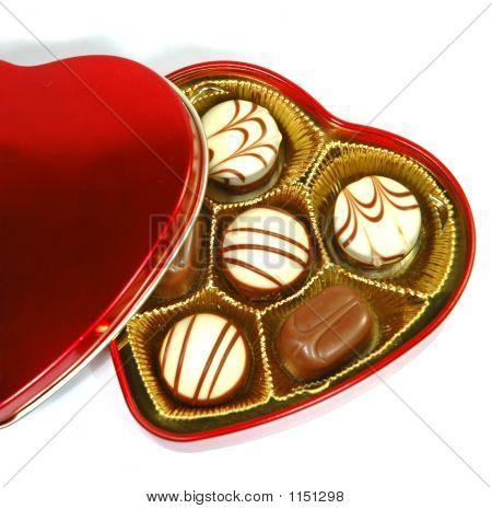 Chocolate em caixa de forma de coração