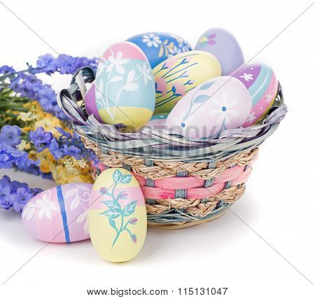 Colorful Easter Eggs, Flowers And Basket