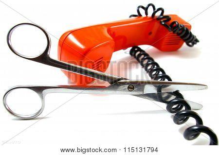 Telephone tube and scissors