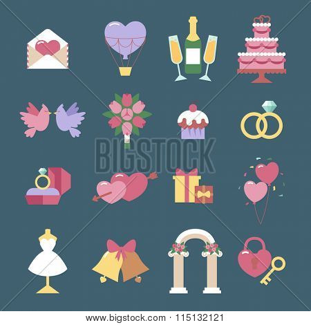 Wedding icon vector set isolated on blue background. Wedding, marriage, holidays iccons flat cute cartoon style. Hearts, couple, wedding icons