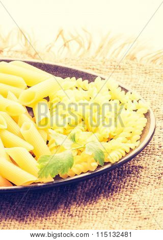 Vintage Photo Of Different Form Dry Pasta